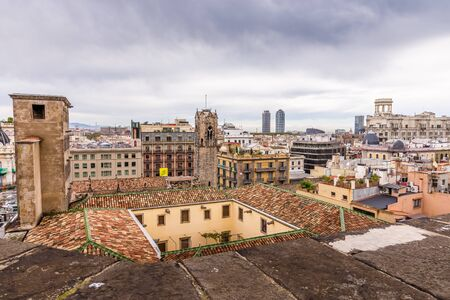 View of the roofs of Barri Gotic from the Cathedral terrace. Barcelona, Spain. Stockfoto