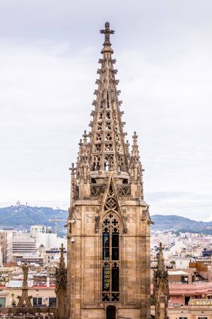 The Cathedral of Barcelona, detail of the main spire in typical gothic style with stone friezes and gargoyles. Barri Gotic, Barcelona. Spain.
