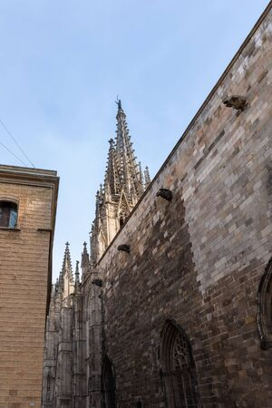 The Cathedral of Barcelona, detail of the main spire in typical gothic style with stone friezes and gargoyles. Barri Gotic, Barcelona. Stockfoto
