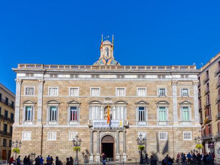 BARCELONA, SPAIN - NOVEMBER  03, 2018: Palau de la Generalitat, main facade. Barcelona, Spain. Redactioneel
