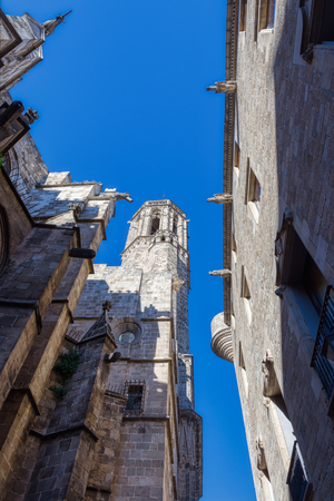Facades of ancient palaces with gargoyles in the center of Barcelona. Palau Reial Major Placa del Rei. Spain. Redactioneel