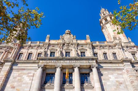 BARCELONA, SPAIN - NOVEMBER  03, 2018: El Cap de Barcelona, colorful statue by the sea in Passeig de Colom. Barcelona, Spain.