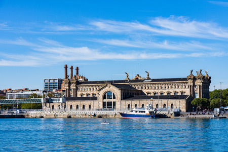 Barcelona, Spain - November 3, 2018: Building of the Barcelona State Agency for Tax Administration in Port Vell, a part of the waterfront harbor in Barcelona, Spain. Redactioneel
