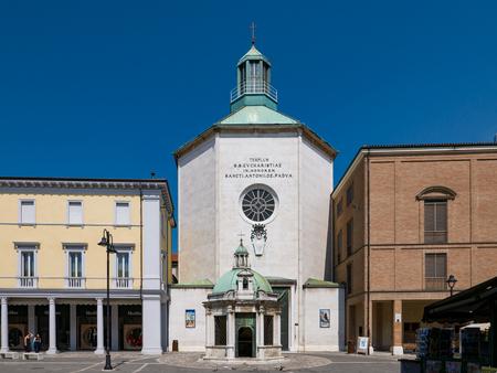 RIMINI - 7 AUGUST 2018:  Paolotti Church (Chiesa dei Minimi di Paola) in Square of the Three Martyrs , Rimini, Italy