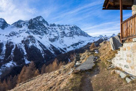 Panorama of snow-capped mountains in Val dAyas, Valle DAosta, Italy