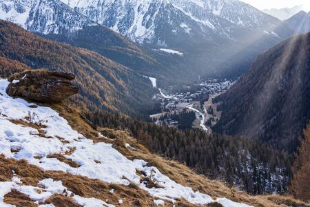 View of Val d'Ayas on Valle dAosta. Italy Stockfoto