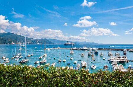 Santa Margherita Ligure, Italy - September 14 2013: Boats moored at the port of Santa Margherita Ligure on a sunny day, Italy