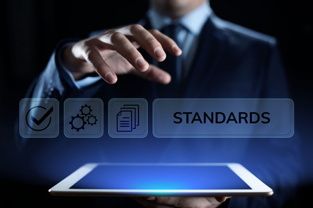 Standards quality Assurance control standardisation and certification concept. Archivio Fotografico