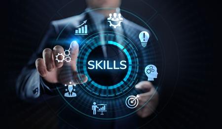 Fähigkeiten Bildung Lernen Persönliche Entwicklung Kompetenz Geschäftskonzept. Standard-Bild
