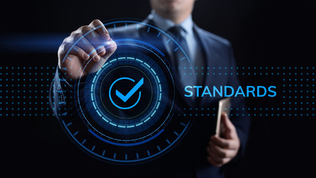 Standards quality Assurance control standardisation and certification concept. Stok Fotoğraf
