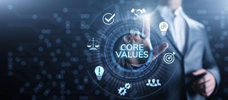 Kernwerte Verantwortung Ethisches Geschäftskonzept des Unternehmens. Standard-Bild