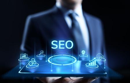 SEO Search engine optimisation digital marketing business technology concept. Stok Fotoğraf