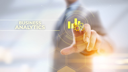 Business analytics intelligence analysis BI big data technology concept.