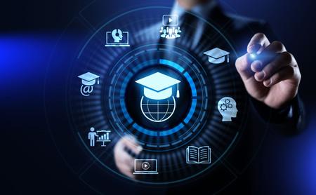 E-learning Online Education Business Internet concept on screen. Banco de Imagens
