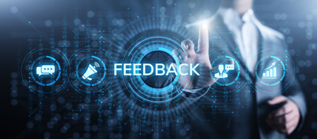 Feedback Customer satisfaction review testimonials service business concept. Stock Photo