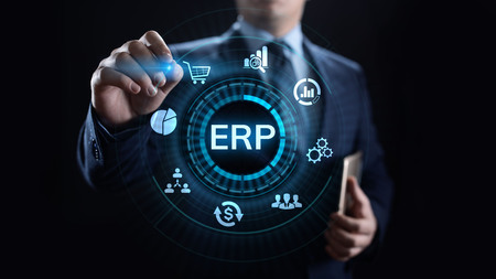 ERP Enterprise resources planning system software business technology. Stock Photo