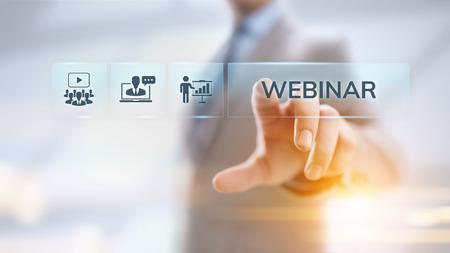 Webinarium E-learning Online Seminarium Edukacja Koncepcja biznesowa. Zdjęcie Seryjne