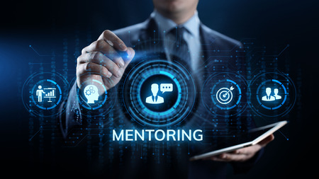 Mentoring Coaching Training Personal development and education concept. Banco de Imagens
