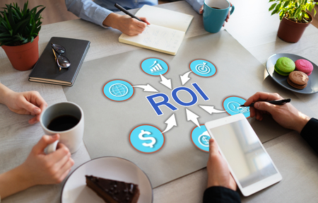 Return on investment ROI Business Finance concept Trading. 스톡 콘텐츠