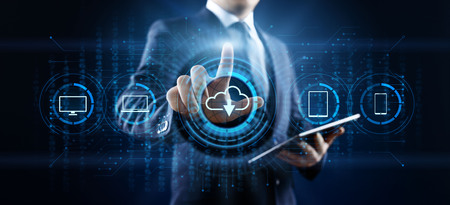 Cloud technology data storage processing computing Internet concept. Businessman pressing button on screen.