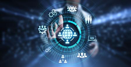 Outsourcing Global Recruitment Business und Internet-Konzept.