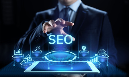 SEO Search engine optimisation digital marketing business technology concept. Imagens - 124676421