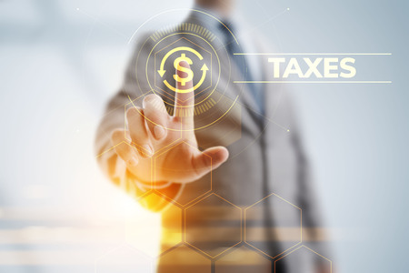 Tax report taxes payment business finance concept. Businessman pointing on virtual screen. Stock Photo