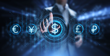 Dollar icon on screen. Currency trading rate Forex Business concept.
