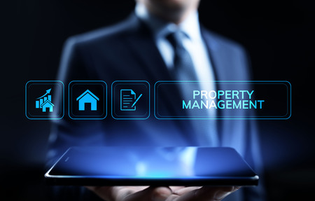 Property management Is the operation, control, and oversight of real estate. Business concept. Stock Photo
