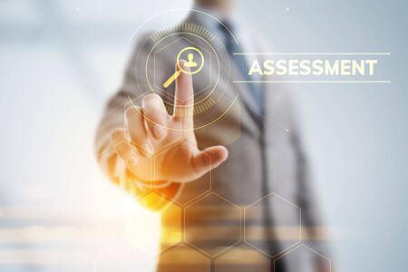 Assessment evaluation business analysis concept on screen. Stock Photo