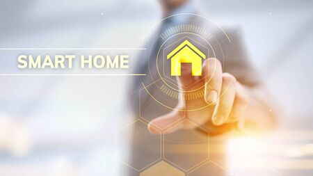 Smart home life process automation IOT internet of things concept on screen.