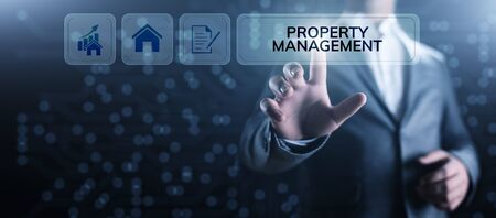 Property management Is the operation, control, and oversight of real estate. Business concept. Banque d'images
