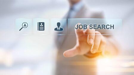 Reclutamiento de contratación de búsqueda de empleo enviar CV concepto de negocio de currículum. Foto de archivo