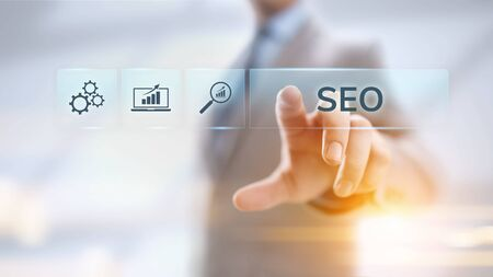 SEO Search engine optimisation digital marketing business technology concept. Stock Photo