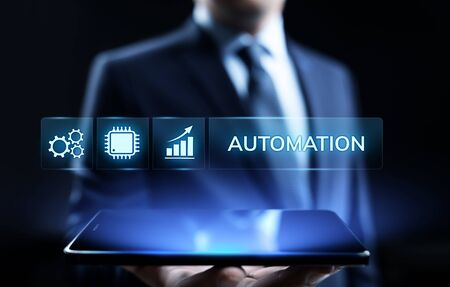 Business process automation industrial technology innovation optimisation concept. Stock Photo