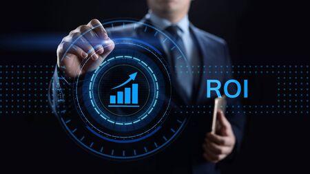 ROI Retour sur investissement concept de croissance financière avec graphique, graphique et icônes. Banque d'images