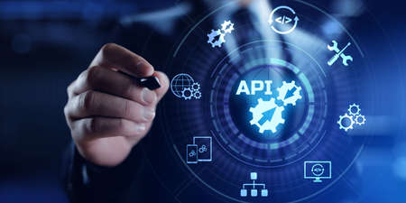 API application programming interface function and procedure development technology concept on screen.