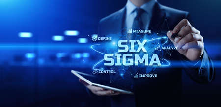 Six SIgma DMAIC Lean manufacturing. Innovation technology concept.