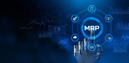 MRP Material Requirement planning Manufacturing Industry Business Process automation. Stock Photo