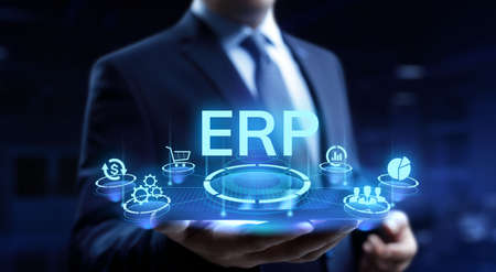 ERP enterprise resource planning business internet technology concept. Stock Photo