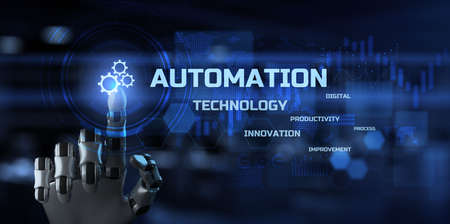 Robotic process automation innovation technology concept. Robotic arm pressing gear icon on screen. Stockfoto