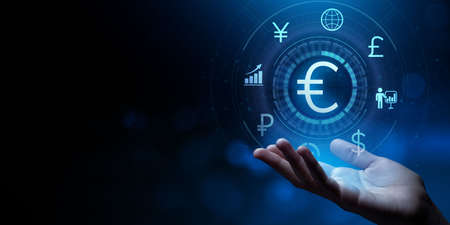 Euro sign currency exchange forex trading business concept.