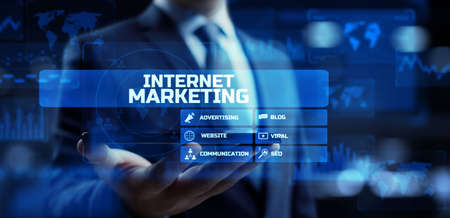 Internet marketing online advertising dashboard business technology concept on screen.