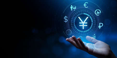 Yen forex currencies exchange trading investment banking business finance concept.
