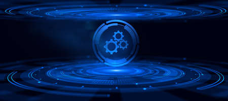 Automation Business process workflow optimization. RPA Innovation technology. Gears Cogwheel.