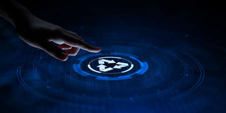 Recycle zero waste ecology saving technology concept. Hand pressing button on virtual screen.