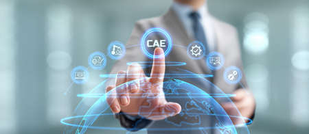 CAE Computer-aided engineering software system concept. Businessman pressing button on screen.