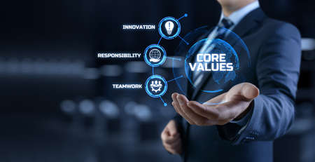 Core values Responsibility Innovation. Businessman pressing button on screen. Stock Photo