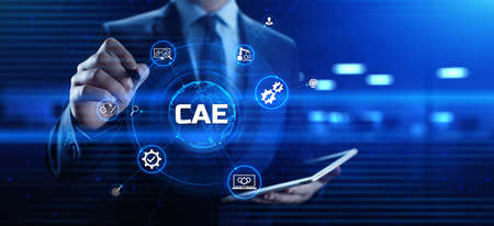 CAE Computer-aided engineering software system concept. Businessman pressing button on screen