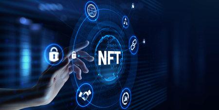NFT Non-fungible token digital crypto art blockchain technology concept. Hand pressing button on screen